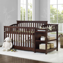 dorel asia - Baby Relax Bailey Crib and Changer Combo - The soft arched details found on this headboard and side panels add a whimsical and charming touch to this crib set. These same design details can be found on the scalloped lower front rail that runs across both the crib base and changer.