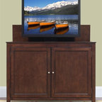 """Monterey TV Lift Cabinet For Flat Screen TV's Up To 55"""" - The Monterey is a distinctive solid wood cabinet that balances crisp lines with a rich espresso finish to compliment a variety of decorating tastes. This heirloom-quality cabinet with quiet, smooth electro-mechanical lift accommodates plasma and LCD TVs up to 55"""" wide by 32.5"""" tall. It features solid birch with espresso veneers with inset wood panels. The Monterey comes IR Ready to allow access to components behind the wooden doors."""