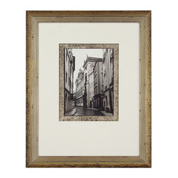 John Richard - John Richard The Streets of Prague II GRF-5002B - Black and white street scene double matted silver accent over black on inside mat white weighted outside mat in a silver and mahogany wood frame.