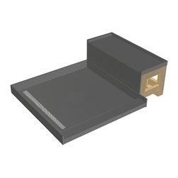 Tileredi - TileRedi RT3048L-SQPC-RB30-KIT 30x60 Pan and Bench Kit - TileRedi RT3048L-SQPC-RB30-KIT 30 inch D x 48 inch W fully Integrated Left PVC Trench Drain pan, 22.36 inch Square Design Grate, Polished Chrome finish, with Redi Bench RB3012 Kit