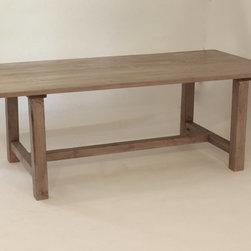 Reclaimed Wood Hand-honed Gray Farmhouse-style Table by West Lake Market - I love the simple lines and wood tones of this warm rustic table.