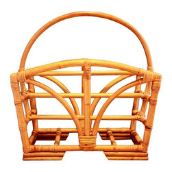 Used Mid-Century Modern Rattan Magazine Rack - A well made and heavy, sturdy piece. This Mid-Century Modern rattan magazine rack is in very good vintage condition. It is missing the binding from one corner, but it is only noticeable upon close inspection. (See pic #4: look at top right corner of rack.) The rack has 2 separate slots for magazines and a handle that makes it very portable.