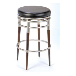 "Hillsdale - Salem 26"" Backless Swivel Counter Stool - This round modern stool may be simple in design but the details give it exquisite style. The warm dark maple legs contrasted by the sleek polished chrome finish and black vinyl seat create a handsome combination. Features: -Constructed of sturdy tubular steel. -Brushed Chrome and Dark Brown Maple finish. -Metal footrest. -Suited for Residential Use Only. -Seat height: 26"". -Overall Dimensions: 26"" H x 18.5"" W x 18.5"" D. -Recommended Care: Dust frequently using a clean, specifically treated dusting cloth that will attract and hold dust particles. Do not use wax or abrasive cleaners as they may damage the finish."