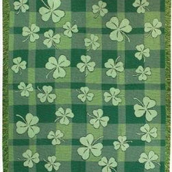 Irish Shamrock Print Tapestry Throw Blanket 50 Inch X 60 Inch - This multicolored woven tapestry throw blanket is a wonderful addition to any home. Made of cotton, the blanket measures 50 inches wide, 60 inches long, and has approximately 1 1/2 inches of fringe around the border. The blanket features a print of shamrocks against a green plaid background. Care instructions are to machine wash in cold water on a delicate cycle, tumble dry on low heat, wash with dark colors separately, and do not bleach. This comfy blanket makes a great gift for friends and family.