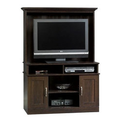 Sauder - 41 in. Entertainment Center in Cinnamon Cherr - Cubbyhole storage and adjustable shelf hold audio and video equipment. Storage area behind entertainment center doors holds VHS tapes, DVDs and CDs. Made of engineered wood. Assembly required. 41 in. W x 17 in. D x 59 in. H