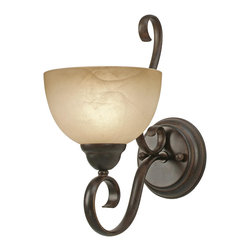 Golden Lighting - Riverton PC 1 Light Wall Sconce - Rustic meets elegance in this curvy metal and glass indoor wall sconce. Illuminate a hallway or flank a painting with its warm glow.