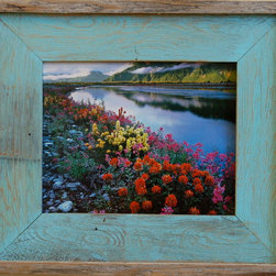 "MyBarnwoodFrames - 24x36 Barnwood Picture Frame Lighthouse Robin Egg Blue Rustic Wood Frame - The robin-egg blue color on the frame face makes a great subsitute for a matte. You'll love that natural wood border and the wide 3"" frame width. Corners and glued and screwed for superior strength. Add acrylic Plexiglas to your order if desired."