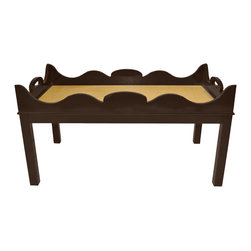 Charleston Coffee Table- Turkish Coffee With White Washed Raffia - Contemporary coffee table with chippendale styling is an Oomph classic piece available in a variety of color and top options.