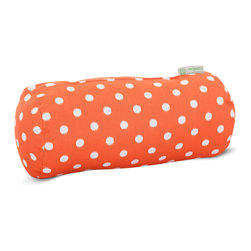 Majestic Home - Outdoor Orange Ikat Dot Round Bolster Pillow - Bolster pillows add some fun shape variety to your throw pillow collection; they fit well into the corners of your couch or settee, and they make great neck roll support pillows. This one has a cute, modern polka dot print that would brighten up a casual couch, bench or lounger, and it's outdoor treated so that you can use it on the deck. The cover can also be removed for easy cleaning. Try mixing it up with some other colorful global prints.