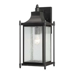 Savoy House Lighting - Savoy House 5-3452-BK Dunnmore 1 Light Outdoor Wall Light, Black - Dunnmore has classic American styling with clean lines, a Black finish and rustic Seeded Glass.