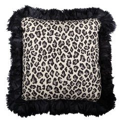 Brandi Renee Designs - Black and Cream Cheetah Silk Ruffle Pillow - Take a walk on the wild side. Striking animals prints have an exotic allure that can be truly eye catching, but still tasteful. This monochrome accessory will add a dose of chic attitude and graphic appeal to any interior. The comfortable polyfill insert is perfect for any lounge or sitting area that needs extra cushioning or support. Cream and black leopard fabric take center stage, while the back consists of smooth black suede. Lined with a complimentary, black ruffle trim - this bold accent piece will definitely stand out.