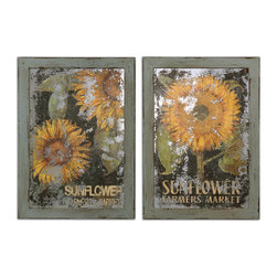 Uttermost - Sunflower Farmers Market Art, Set of 2 - Printing A Distressed, Oil Image On The Back Of An Antiqued Mirror, Creates This Artwork. Frame Is Made Of Reclaimed Wood Finished In Muted, Robin's Egg Blue Heavily Distressed With Brown Accents And A Light Brown Wash.
