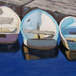Roweboat Art Inc. - Three Row Boats, Fine Art Reproduction Print, 16X12 - Original art reproduction