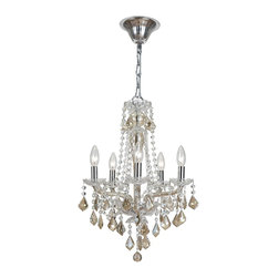 Crystorama - Crystorama 9835-CH-CG Simone Chandelier - We love a modern traditional mix. It's the perfect style marriage, as you'll see in the Simone collection. Colored crystals and colored glass in shades of cognac are just the contemporary touches these classically styled lights need for today's more sleek and modern decors.