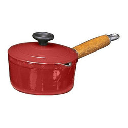 """Paderno World Cuisine - Chasseur 7 7/8 Inch Enamel Cast-Iron Sauce Pan With Lid and Wooden Handle, Red - This product has a beautiful wooden handle that stays cool even under the highest of temperatures. It comes with a lid with an easy grip knob and has a small spout on the lip for easy pouring or straining. Note that all dimensions are interior and do not include handles or thickness of the material.; with small spout fer easy pouring; has stay cool wooden handle; retains and distributes heat evenly; enameled twice for added durability; Made in France; Weight: 7 lbs; Dimensions: 4.0""""H x 15.75""""L x 8.0""""W"""