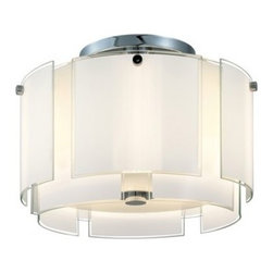 """Sonneman - Sonneman Velo 16"""" Semi Flush Ceiling Light - The Velo 16 Semi Flush Ceiling Light by Sonneman has been designed by Robert Sonneman. The Velo 16 Semi Flush Ceiling Light is a layered veil of luminous glass that radiates Hollywood glamour. Each of its white enameled glass panels is defined by crystal clear edges that add just a touch of sparkle and definition. Featured in polished chrome and a shade of white glass with clear edges.  Product description:   The Velo 16 Semi Flush Ceiling Light by Sonneman has been designed by Robert Sonneman. The Velo 16 Semi Flush Ceiling Light is a layered veil of luminous glass that radiates Hollywood glamour. Each of its white enameled glass panels is defined by crystal clear edges that add just a touch of sparkle and definition. Featured in polished chrome and a shade of white glass with clear edges.  Details:      Manufacturer:     Sonneman      Designer:    Robert Sonneman        Made in:    USA        Dimensions:     Shade:Height:10"""" (25.4 cm) X Diameter:16"""" (40.64 cm) X    Canopy Diameter:7"""" (17.78 cm) Overall:Height:12"""" (30.48 cm) X Diameter:17"""" (42.18 cm)      Light bulb:     2 X A19 Medium Base Max 75W Incandescent (not included)        Material:     Glass"""