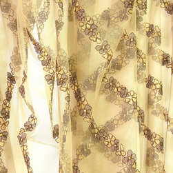 Striped High-end French lace 112 inches height purple golden brown embroidery - High-end French lace embroidered tulle, extra wide, 112 inches (2.85 m). Elegant stripes of flowers are embroidered on all the surface of the fine khaki tulle with purple, golden beige and metallic brown colored yarns. Scaloped embroidery decorates the bottom.