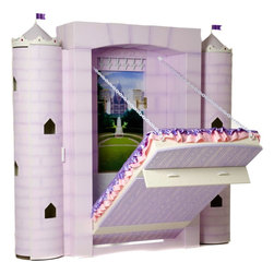 Fable Bedworks - Penny's Palace Princess Theme Bed - Penny's Palace is where fairies dance, tea parties are held, and magic springs to life. Secured to your little one's bedroom wall, the drawbridge lowers to become her place for restful slumber. Draw up the bed (bridge) to free up space for play or a grand ball.