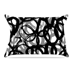 """Kess InHouse - Emine Ortega """"Rhythm"""" Black Gray Pillow Case, Standard, 30""""x20"""" - This pillowcase, is just as bunny soft as the Kess InHouse duvet. It's made of microfiber velvety fleece. This machine washable fleece pillow case is the perfect accent to any duvet. Be your Bed's Curator."""