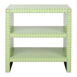 Safavieh - Lacey Side Table - Light Green - Three times the charm. The Lacey Side Table brings the functionality of three stylish shelves to a new level of sophistication. Covered with kiwi green faux leather of sturdy polyurethane and crafted with nailhead detail, this traditional accent piece is refreshingly fashion-forward.