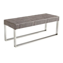Crocodile Leather Bench - Crocodile Leather Bench