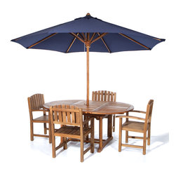 All Things Cedar - 5pc. Teak Oval Extension Table Dining Chair Setwith 10ft. Umbrella in Blue - This 6pc. Promo Set Includes 1 TE70 Rectangle Extension Table + 4 TD20 Teak Dining Chairs and 1 Teak Umbrella Item is made to order.