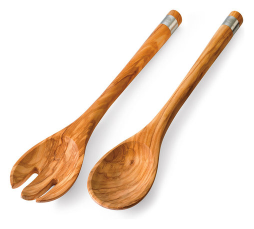 Berard Salad Server Set - The Berard classic salad server set is a beautiful set for mixing and serving salads. This set is handcrafted from French olivewood featuring a distinct pattern - no two pieces are alike. The set features stainless steel accents around the tips. Hand wash only. Set includes: 1 large serving fork and 1 large serving spoon.