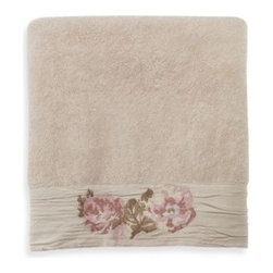 Next Creations Holdings Llc - Brigitte Natural Bath Towel - Decorate your bathroom with this stylish towel that features a pretty floral design. Coordinates with Brigitte Bath Accessories, Brigitte Bath Rug and Brigitte Shower Curtain.