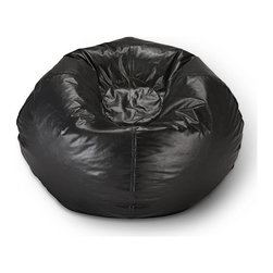 ABC Lifestyle - Matte Bean Bag in Black - Return to the basics of comfort with a matte black beanbag chair. Pod styling with polystyrene bead filling remains a favorite for bedrooms, dorms and casual living spaces. Vinyl covering with double stitched seams includes safety zippers for a fast refill. Ergonomic seating position. Great for reading, playing video games, watching TV, relaxing. Double stitched seams for durablility. Matte finish. Made from vinyl and polystyrene bead. 32 in. L x 30 in. W x 13 in. H