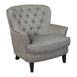 Great Deal Furniture - Alfred Royal Vintage Design Upholstered Arm Chair, Grey - The Alfred Royal Vintage Design Upholstered Arm Chair offers executive styling at an intern price. Perfect for any room that exhibits an affluent or upscale decor. Aside from the darkly tanned wooden legs, this chair is upholstered entirely with baronial, rich linen fabric. This chair offers comfort to the person lucky enough to be seated on it. The armrests and top portion of the back curve ever so gently, adding to the exquisite and detailed styling of this chair. The seat cushion is thick and soft, and with the tufted back offers a soft and comfortable place to relax. This chair is also great as an accent chair and could be a conversation piece when placed in corners or foyers.