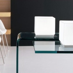 """Itre - Cubi Zero Table Lamp - Classic cube shape in blown, satin white glass highlights this clean and simple family of designs. Wall / ceiling, suspension, wall, table and floor models are available. FEATURES: -Table Lamp. -Cubi collection. -Designed by Ufficio Stile I Tre. -White diffuser. -Grey structure. -Satin white glass highlights. SPECIFICATIONS: -Accommodates 40 Watt G9 halogen bulb. -Overall dimensions: 4.5"""" H x 4.3"""" W x 4.3"""" D. Designed by: UFFICIO STILE I TRE"""