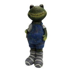 Alpine - Boy Frog Statue with Blue Overalls - Medium - Add a fun look to your landscape with these delightful garden statuaries. You can group them in your walkway, garden and pond or use individually around your deck or patio. These unique figures are made with the precision of fine detailed craftsmanship to make a one of a kind product.Features: