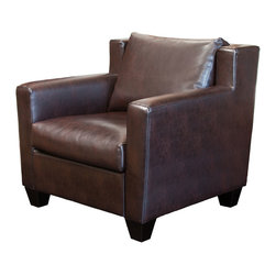 Great Deal Furniture - Chesterfield Brown Leather Club Chair - With its wide stance and overall soft padding, the Chesterfield Brown Leather Club Chair combines contemporary and traditional elements to create one stunning chair. The chair features dark espresso stained legs.