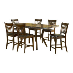 Hillsdale Furniture - Arbor Hill 7 Pc Counter Height Dining Set - Set includes 1 Table, 6 Stools. Composed of solid wood. Colonial Chestnut color. Table: 60 in. L x 40 in. W x 30 in. H. Leaf: 78 in. L x 40 in. W. Counter Stools: 23 in. W x 19.25 in. D x 42 in. HCharm your guests with Hillsdale Furniture's Arbor Hill dining collection. Too modern to be country, but to rustic to be contemporary, with a classic mission styled chair and an unusual symmetrically sculpted table base, the Arbor Hill is a perfect blend of cozy and chic. Featuring a rich colonial chestnut finish, oil rubbed bronze decorative accents, versatile and comfortable brown leather waterfall seats and a butterfly leaf extension table, this ensemble will become the dining and entertainment center in your home.