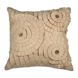 A1 Home Collections - Beige Cotton 18-inch Floral Throw Pillow - A beautiful mix of color, pattern and texture, this pillow brings an earthy charm to your living space.