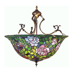 """Meyda Tiffany - 24""""W Tiffany Rosebush Inverted Pendant - The most beloved of all flowers, the rose, is beautifully represented in this Meyda reproduction of a Tiffany Studio classic. Petal Pink, Romantic Red and Plum Passion art glass roses ramble on a maze of Garden Green leaves. The delicate domed stained glass shade is paired with a graceful, hand finished Mahogany Bronze inverted pendant fixture."""
