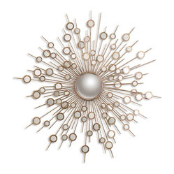 Uttermost - Raindrops Gold Sunburst Mirror - Do something radiant in your decor. This celestial-inspired mirror is crafted from hand-forged metal with a convex mirror in the center to make a striking statement.