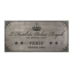 Uttermost - Palais Royale Plaque Art - Wall plaque features an antiqued silver leaf finish with dusty black, embossed details.