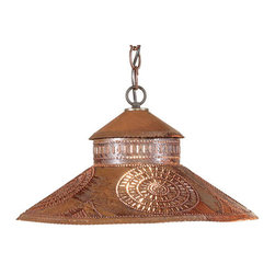 Irvin's Tinware - Shopkeeper Shade Light with Chisel Design, Rustic Tin - Designed to reflect the welcome of a country store, our Shopkeeper Shade Light is perfect over a small table or used alone or in pairs over a bar or kitchen island.