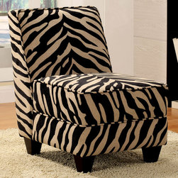 "Acme Furniture - Makala Fabric Chair in Zebra Fabric - Makala Fabric Chair in Zebra Fabric; Finish: Zebra Fabric; Materials: Fabric, Ply, Foam, Solid Wood English Dove Tail Without Spring; Weight: 37 lbs; Dimensions: 24"" x 31"" x 34""H"