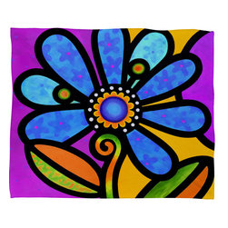 DENY Designs - Steven Scott Cosmic Daisy In Blue Fleece Throw Blanket - This DENY fleece throw blanket may be the softest blanket ever! And we're not being overly dramatic here. In addition to being incredibly snuggly with it's plush fleece material, it's maching washable with no image fading. Plus, it comes in three different sizes: 80x60 (big enough for two), 60x50 (the fan favorite) and the 40x30. With all of these great features, we've found the perfect fleece blanket and an original gift! Full color front with white back. Custom printed in the USA for every order.