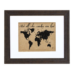 Fiber and Water - Wander Art - If you love travel but have a homey side too, let them meet in the middle — right on your wall. This impressive print, hand-pressed on natural burlap with water-based ink and housed in a distressed wood frame, lends style and distinction to your favorite setting.