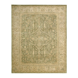 Ballard Designs - Austelle Hand Tufted Rug - Use of a rug pad is recommended. Sizes are approximate. Exquisite attention to detail in this artisan-crafted rug will make it a favorite for years to come. The traditional Persian-style design is hand tufted of 100% wool in warm neutrals on a green background. Given a special herbal wash for the mellow finish and textural dimension of an antique. Austelle Hand Tufted Rug features:. .