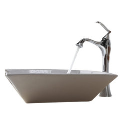 Kraus - Kraus White Square Ceramic Sink and Ventus Faucet Chrome - *Add a touch of elegance to your bathroom with a ceramic sink combo from Kraus