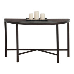 Jofran - Jofran Glass and Stone Top Sofa Table - Jofran - Console Tables - 5064 - Bring decoration to the back of your sofa or an awkward wall with the introduction of this casual sofa table. A piece designed to reflect a laid-back style this piece will help you to create an atmosphere of casual comfort. This piece features a tempered glass synthetic stone and steel construction with a roswell stone colored finish making this piece ideal for blending with an assortment of color schemes. Pair this table with its matching cocktail table end table or nesting table set for a complete collection.
