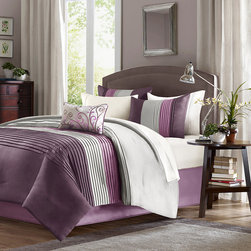 Home Essence - Home Essence Belleview 5 Piece Comforter Set - A modern twist to a classic color block bed. Belleview is made from a faux silk texture with pleating details to give it an update to a classic look. Features colors of deep plum, platinum and lavendar. Comf and sham face: polyoni pintuck; back: micro fiber; Filling: 100% polyester 270gsm; shirt: polyoni; pillow cover: polyester, filling is polyester.