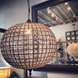 Beaded Globe Chandeliers - Chandeliers come in small medium and large sizes.