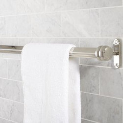 """Covington Towel Bar, 24"""", Polished Nickel finish - We designed our Covington Collection in the style of antique fittings found on turn-of-the-century trains. Each piece is crafted of naturally strong and rust-resistant solid brass. 18"""" or 24"""" long Cast of brass and stainless steel thickly plated for strength. Hand-applied finish. View our {{link path='pages/popups/fb-bath.html' class='popup' width='480' height='300'}}Furniture Brochure{{/link}}."""
