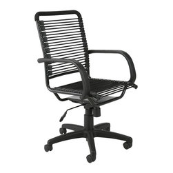 Eurø Style - Bungie High Back Office Chair in Black/Graphite Black - Featuring powder epoxy coated steel frame and durable bungie cord loops, this Bungie High Back Office Chair by Eurø Style is sure to be an inviting addition to your office.