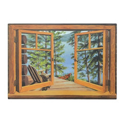 "Stupell Industries - Cabin And Lake Decorative Faux Window Scene - Decorative and functional. Made in USA. Original Stupell art. 33 in. H x 22 in. W. 0.5 in. ThickThe one of kind faux window collection from ""The Stupell Home decor Collection"" is the perfect accessory for any room. Created by California muralist Louise Cartter, this lithograph is an original piece of artwork inspired by the actual very scene that was painted! Faux window scenes are especially popular for bathrooms and other rooms without a window. The realistic look instantly brightens any room giving it a larger and brighter feel. The lithograph is laminated on sturdy MDF fiberboard; hand finished and comes ready to hang from the saw tooth hanger on its back."